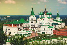 stock photo of ascension  - Pechersky Ascension Monastery in Nizhny Novgorod Russia in summer - JPG