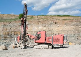 image of open-pit mine  - Construction drill auger in a open pit mine - JPG