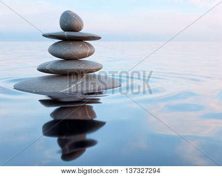 poster of 3d rendering of Zen stones in water with reflection - peace balance meditation relaxation concept