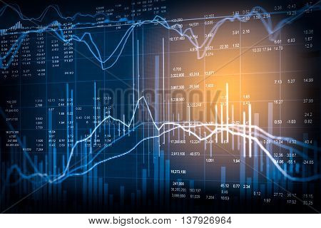 Graph Of Stock Market Data And Financial With The View From Led Display Concept.