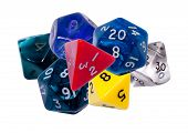 stock photo of dd  - Seven roleplaying dices on isolated white background - JPG
