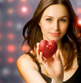 Beautiful Girl with Valentine Heart