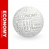 ECONOMY. Globe with different association terms.