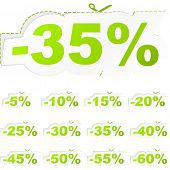 Modelos de etiqueta com diferentes percentagens de desconto