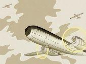 Постер, плакат: Ретро войны истребителей пролетел над облачное небо
