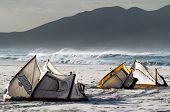 Kites On The Beach Waiting To Kiteboard