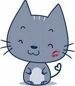 Illustration of a Cat with a Kiss Mark on Its Cheek
