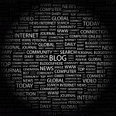 BLOG. Word collage on black background. Illustration with different association terms.