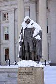 Albert Gallatin Statue Snow Us Treasury Department Washington Dc