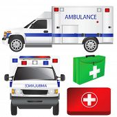 ambulance and equipments vector