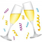 stock photo of champagne glass  - champagne glass vector - JPG