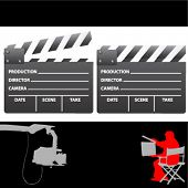 picture of crew cut  - clapboard and director vector - JPG