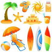 set of beach objects vector