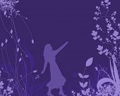 A silhouette of a woman walking in the garden after picking some flowers