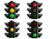 A set of four stop lights for your vector designs. A caution light, red light, green light and yello