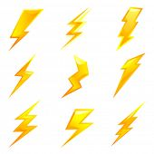 image of lightning bolts  - powerful lightning bolts - JPG