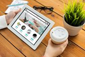 business, internet shopping, technology and people concept - close up of woman with online shop web  poster