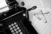 Old Fashioned Adding Machine And Glasses (Black And White)