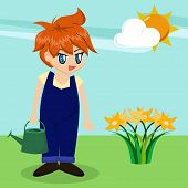 Cute Cartoon Boy In Garden poster