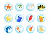 picture of monokini  - Vector illustration of vacation symbols on a white background - JPG