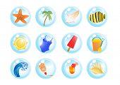foto of monokini  - Vector illustration of vacation symbols on a white background - JPG