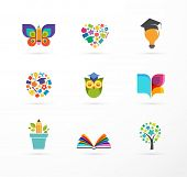 Education icons, elements set. Book, student hat, owl and tree symbols poster