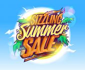 Sizzling summer sale, hot tropical design concept, sun, palms leaves and sky poster