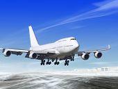 white passenger plane is landing away from airport