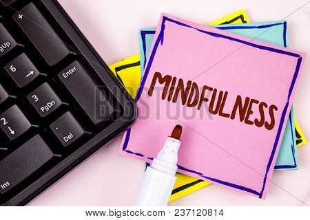 poster of Text Sign Showing Mindfulness. Conceptual Photo Being Conscious Awareness Calm Accept Thoughts And F