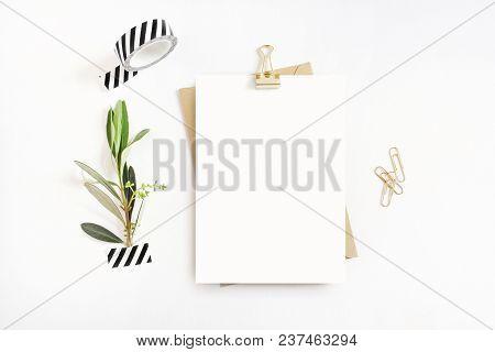 poster of Feminine Stationery, Desktop Mock-up Scene. Blank Greeting Card, Craft Envelope, Washi Tape And Gold