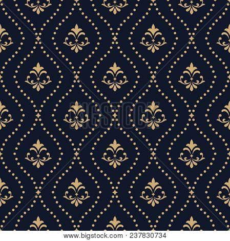 poster of Floral Pattern. Vintage Wallpaper In The Baroque Style. Seamless Vector Background. Dark Blue And Go
