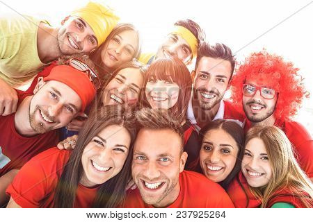 poster of Happy Sport Friends Taking Selfie At World Soccer Event - Friendship Concept With Young People Havin