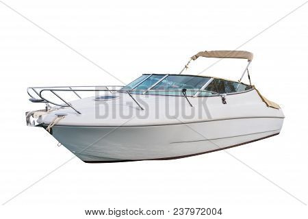 poster of Motor Boat Isolated On A White Background