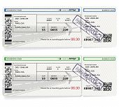 Two Variants Of Vector Airline Passenger And Baggage Boarding Pass Ticket With Barcode. Concept Of T poster