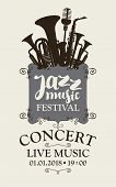 Vector Poster For A Jazz Festival Of Live Music With Silhouettes Of Saxophone, Wind Instruments And  poster