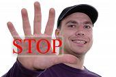 Man Showing Stop