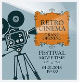 Vector Poster For Movie Festival With Old Fashioned Movie Camera. Cinema Background With Words Retro poster