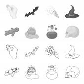 A Voodoo Doll, A Magical Fire, A Love Potion, A Skull.black And White Magic Set Collection Icons In  poster