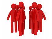 Red Men Walking Around - Social Themes
