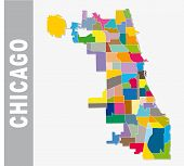 The Chicago Cooorful Neighborhood Vector Map, Illinois poster
