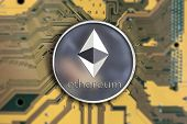 Ethereum. Crypto Currency Ethereum. Ethereum Coin On Exchange Charts. E-currency Ethereum On The Blu poster