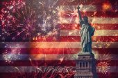 4th Of July Concept With Statue Of Liberty And Fireworks poster