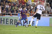 VALENCIA, SPAIN - OCTOBER 17 - Leo Messi - FootBall Match of Spanish Professional Soccer League betw