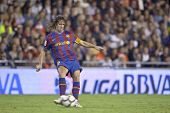 VALENCIA - OCTOBER 17 : Pujol of Barcelona FC in action at Spanish soccer league match Valencia C.F.