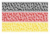 German Flag Collage Composed Of Electric Bolt Elements. Vector Electric Bolt Elements Are United Int poster