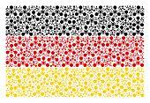 Germany State Flag Collage Designed Of Wmd Nerve Agent Chemical Warfare Design Elements. Vector Wmd  poster