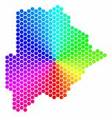 Постер, плакат: Hexagon Spectrum Botswana Map Vector Geographic Map In Rainbow Colors On A White Background Spectr