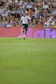 VALENCIA, SPAIN - SEPTEMBER 22 - FootBall Match of Spanish Professional Soccer League between Valencia C.F. vs AT. Madrid - Mestalla Luis Casanova Stadium - Ricardo Costa - Spain on September 22, 2010