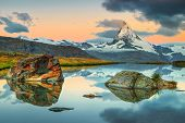 Breathtaking Sunrise Panorama With Famous Matterhorn Peak And Beautiful Alpine Lake, Stellisee, Vala poster