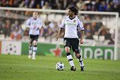 VALENCIA, SPAIN - FEBRUARY 15 - Dominguez in the UEFA Champions League between Valencia C.F. vs Scha
